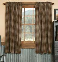 Navy Check Short Panel Set Curtains Farmhouse Khaki Country Primitive VHC Brands