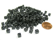 200 5mm .197 Inch Six Sided D6 Die Small Tiny Mini Miniature Black Dice