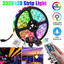 16FT RGB Flexible LED Strip Light 3528 SMD Fairy Lights Remote Room TV Party Bar