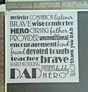 Words Dad Kind Stencil Scrapbooking Cardmaking Airbrush Painting Home Decor Art