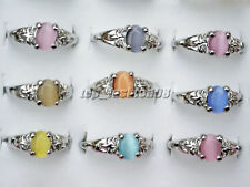 120pcs Multicolor Opal Rings Woman Silver-plate Wholesale Jewelry Free Shipping