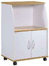 New listing Hodedah Mini Microwave Cart With Two Doors And Shelf For Storage, White + Beech