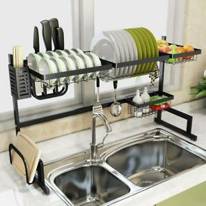 Over Sink Dish Drying Rack Stainless Steel Drainer Shelf Utensils Holder UK 85CM