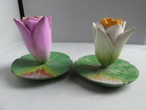 VINTAGE 90'S RETRO 2 SHABBY CHIC FLOWER CANDLESTICKS UNUSED