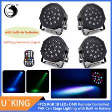 4x U`King Bühnenbeleuchtung Eingebaute Batterien 18LED RGB PAR DMX Lichteffekte