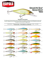 Rapala Shadow Rap® Shad Deep Slow Rising Fishing Lure 9cm 11g Various Colours