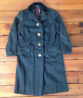 "Vintage 60s Olive Green Wool Velvet Womens Over Coat USA Union Made 39"" Chest"