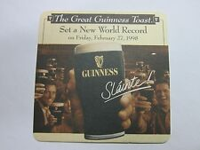 Beer Coaster: GUINNESS Brewery ~ 1998 World Record of Toasts in Nearly 50 Cities