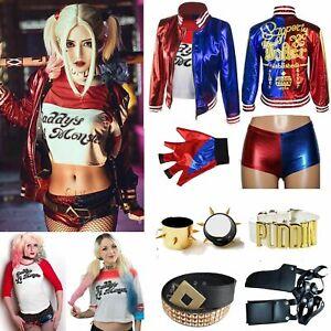Hivia Joker Kost/üm Damen M/ädchen Harley Quinn Jacken Hosen und T-Shirts Mama und Tochter Kleidung Cosplay