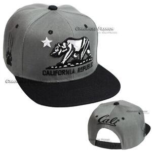 California Republic Baseball Cap Snapback Adjustable Hat Cali Bear Flat Bill Men