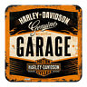 Rustic Retro Metal Coaster HARLEY DAVIDSON 'GARAGE' Motorcycles 9x9cm Licensed