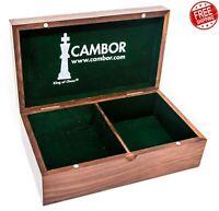 Large Chess Walnut Wood Storage Box Vintage Chessmen Set  Magnetic Closer Padded