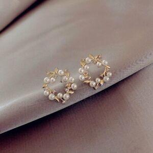 Fashion Pearl Flower Earrings Ear Stud Dangle Charm Women Wedding Jewellery Gift