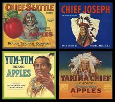 "SET OF 4 OLD ORIGINAL 1926-40 ""YAKIMA-WENATCHEE"" WASHINGTON FRUIT BOX LABELS ART"