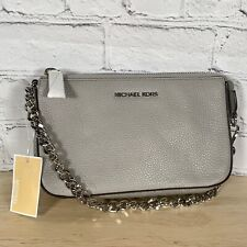 Michael Kors Pearl Grey Pebbled Leather Chain Strap Pouch Small Bag Purse Gray