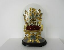 Antique 1800 Victorian French Bridal Wedding Dome Gold Gilt leaves Ormolu