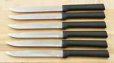 RADA CUT. W204 SET OF SIX UTILITY/STEAK KNIVES BLACK HANDLE SAME AS G206 NO BOX