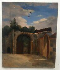 Tableau ancien, Huile sur toile, Ruines d'église, Fin XIXe - Début XXe