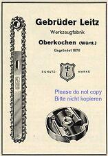 Tool factory Leitz Oberkochen Germany german ad 1935 chainsaw xc