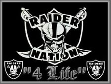 (2) Oakland Raiders Nation 4 Life Vinyl Window Stickers 5 x 3.8 Car Bumper Decal