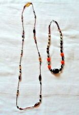 Long Bead Necklace & Amber Wood Bead Necklace Job Lot Brown Red Beads Chain Gift