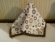 Carters Baby Cozy blanket blue tan brown circles dots soft  Kids Line         Z8