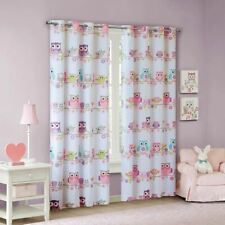 Luxury Pink & White Flowers & Owls BLACKOUT Grommet Top Curtain Panel