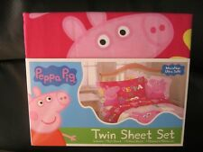 Peppa Pig Pink Twin Sheet Set Bedding Cartoon Characters, NEW