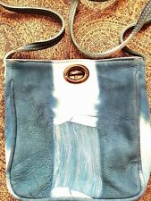 Annabelle Thom blue and white leather cross body bag - NEW
