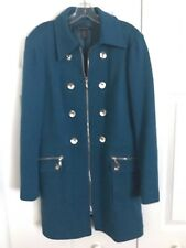 INC Woman's Trench Coat Zip XL Teal Zip Silver Buttons Double Breasted Blue