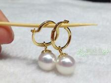 Charming AAA+ 7-8mm real natural south sea white pearl earrings 14K Yellow Gold