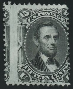 "US Sc# 98 *MINT NG H* { ""MISPERF ERROR"" 15c LINCOLN } ""F GRILL OF 1867 CV$ 1,700"