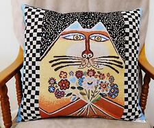 'S-CAT-TER' CUSHIONS, CAT WITH POSY, TAPESTRY FABRIC, VELVET BACK - 0487