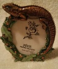"Ornate Enamel Bejeweled Lizard Photo Frame  Amber Jewels 2.5"" x 2.5"" Round New"