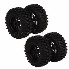RC1:10 Off-Road Buggy Car 12mm Hub Y Type Wheel Rim & Tires Black Pack of 4