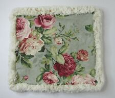 Decorative Throw Pillow Cover Cabbage Roses Blue Green Pink 17x17 Fringe Shabby