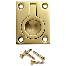 1-1/2 inW x 2 inH Rectangular Recessed Ring Pull, Polished Brass