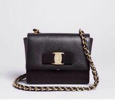 NEW $895 Salvatore Ferragamo Gini Mini Saffiano Leather Crossbody Bag Black/Gold