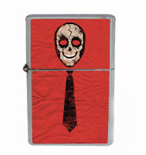 Skull Tie Rs1 Flip Top Dual Torch Lighter Wind Resistant