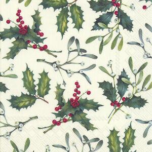 4 x Single Paper Table Napkin/3-Ply/33cm/Decoupage/Christmas/Mistletoe and Holly