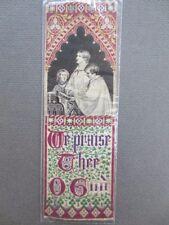 Antique BOOKMARK Woven Silk Stevengraph Religious Choirboys We Praise Thee O God