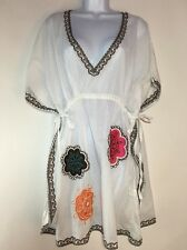 Mud Pie Boutique Butterfly Tunic Beach Swim Cover-up  Cotton White Flowers  S/M