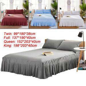 Solid Color Bed Skirt Beds Fitted Sheet Covers Bedspread Pillowcase Home Hotel !