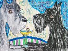 Giant Schnauzer Drinking a Martini Art Print 8 x 10 Signed Ksams Dog Collectible