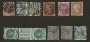 GB Collection 10 QV Stamps inc 10d and 2s with Faults