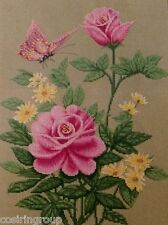 """PINK ROSES Counted Cross Stitch Kit - Size 11"""" x 14.5"""" 17-D DIY - FREE SHIPPING"""