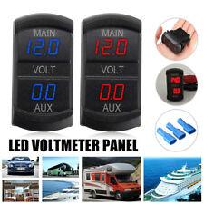 LED Digital Dual Voltmeter Voltage Gauge Battery Monitor Panel Car Boat Blue/Red