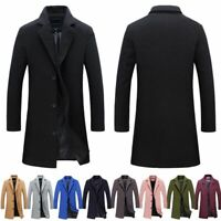 Mens Warm ArtificiaWool Trench Coat Single Breasted Overcoat Long Jacket Outwear