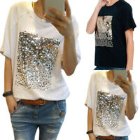 Women Sequins Crew Neck Short Sleeves T-shirt Summer Party Loose Casual Blouse