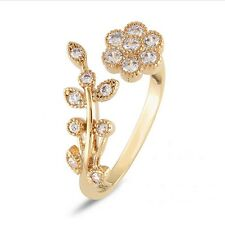 Women Elegant Rhinestone Rings Gold Silver Leaf Flower Wrap Cuff Ring Gift